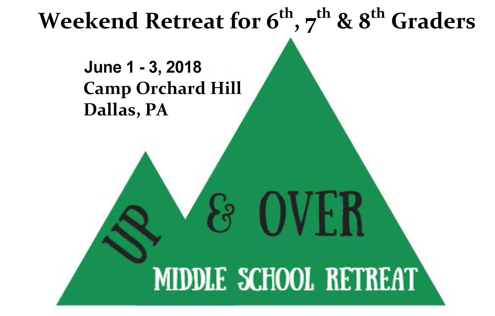 Up & Over Youth Retreat June 1 – 3, 2018